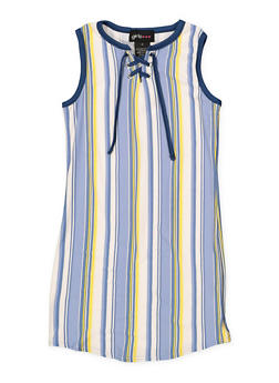 Girls 4-6x Striped Soft Knit Lace Up Tank Dress - 1614051060179