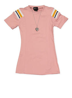 Girls 4-6x Striped Detail T Shirt Dress with Necklace - 1614051060180