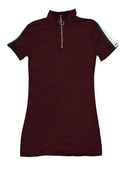 Girls 4-6x Zip Neck T Shirt Dress - 1614051060181