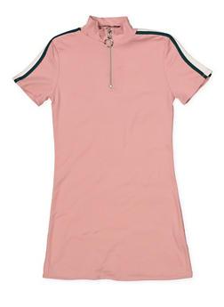 Girls 4-6x Zip Neck T Shirt Dress - 1614051060181