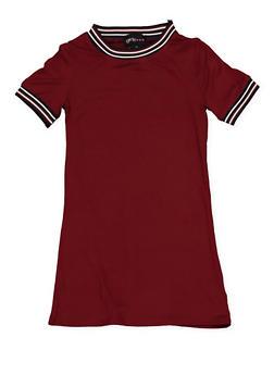Girls 4-6x Striped Rib Knit Trim T Shirt Dress - 1614051060182