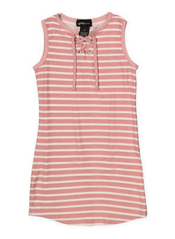 Girls 4-6x Striped Lace Up Tank Dress - 1614051060183