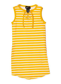 ad8b45bb5c Girls 4-6x Striped Lace Up Tank Dress - 1614051060183