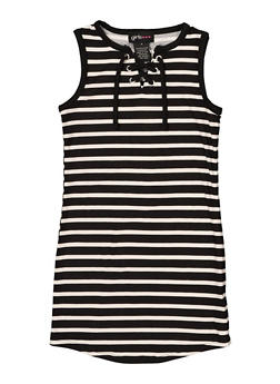 Girls 4-6x Lace Up Striped Tank Dress - 1614051060184
