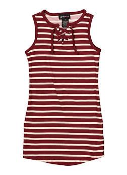 Girls 4-6x Lace Up Striped Tank Dress - 1614051060184