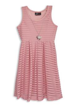 Girls 4-16 Shadow Stripe Skater Dress with Necklace - 1614051060185