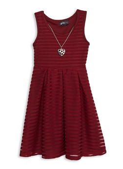 Girls 7-16 Shadow Stripe Skater Dress with Necklace - 1614051060185