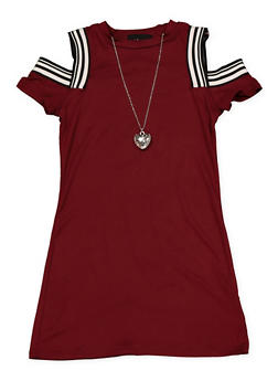 Girls 4-6x Cold Shoulder Dress with Necklace - 1614051060187
