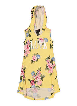 Girls 4-6x Floral Sleeveless Hooded Dress - 1614051060192