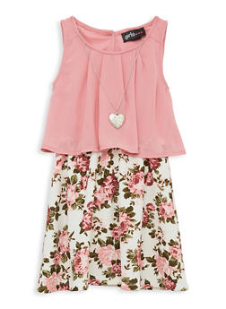 Girls 4-6x Crepe Knit Overlay Floral Dress with Necklace - 1614051060210