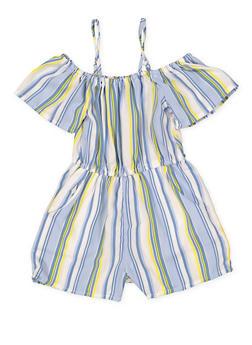 Girls 4-6x Striped 2 Pocket Off the Shoulder Romper - 1614051060215