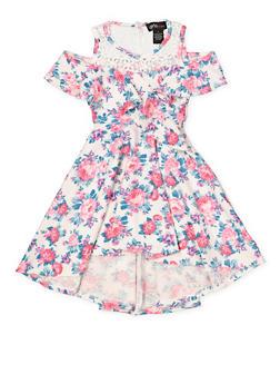 Girls 4-16 Crochet Yoke Cold Shoulder Skater Dress - 1614051060227
