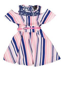 Girls 4-6x Striped Belted Skater Dress - 1614051060232