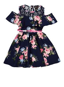 Girls 4-6x Belted Crochet Yoke Floral Dress - 1614051060233