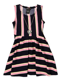 Girls 4-6x Pleated Skater Dress with Necklace - 1614051060235