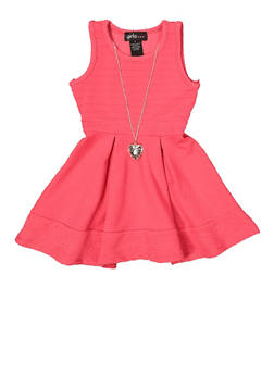 Girls 4-6x Textured Knit Dress with Necklace - 1614051060238