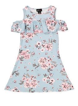 Girls 4-6x Floral Cold Shoulder Soft Knit Dress - 1614051060240