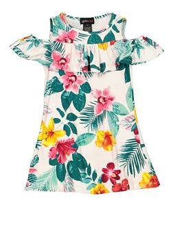 Girls 4-6x Floral Ruffled Shift Dress - 1614051060241