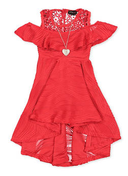 Girls 4-6x Pleated Crochet Detail Skater Dress with Necklace - 1614051060281