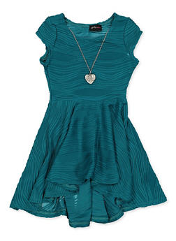 Girls 4-6x Pleated Skater Dress with Necklace - 1614051060282