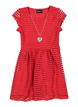 Girls 4-6x Solid Shadow Stripe Skater Dress - 1614051060284