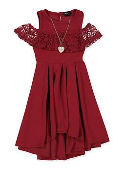 Girls 4-6x Crochet Trim Cold Shoulder Skater Dress - 1614051060292