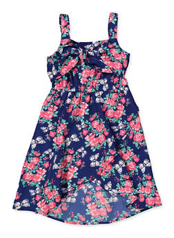 Girls 4-8 Floral Tulip Hem Skater Dress - 1614054730051