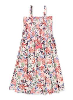 Girls 4-6x Smocked Floral Skater Dress - 1614060580035