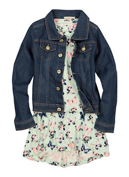 Little Girls Butterfly Printed Dress with Denim Jacket - 1614061950020