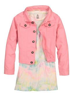 Little Girls Tie Dye Dress with Twill Jacket - 1614061950021