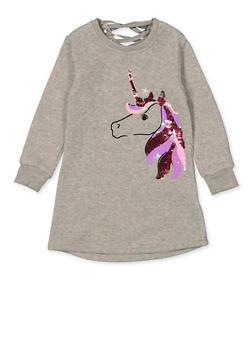 Girls 4-6x Unicorn Lace Up Back Sweatshirt Dress - 1614063400047