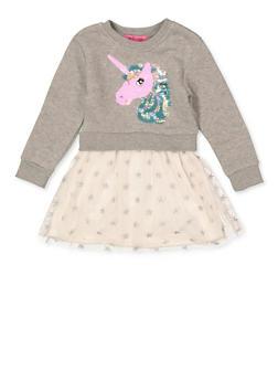 Girls 4-6x Reversible Unicorn Skater Dress - 1614063400048