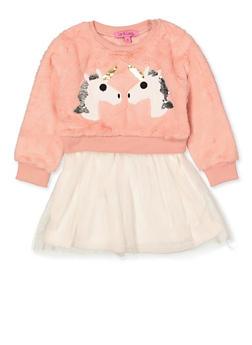 Girls 4-6x Faux Fur Unicorn Skater Dress - 1614063400049