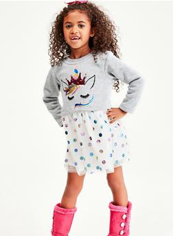 Girls 4-6x Unicorn Polka Dot Skater Dress - 1614063400050