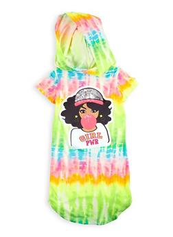 Little Girls Tie Dye Girl PWR Patch Hooded Dress - 1614066590137