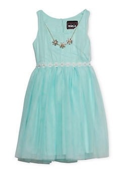 Girls 7-14 Sleeveless Daisy Trim Dress with Matching Necklace - 1615021280026
