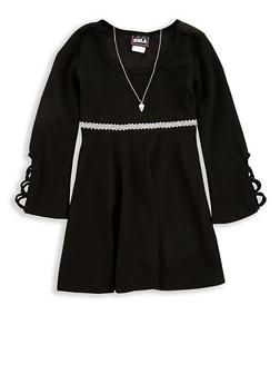 Girls 7-16 Jewel Detail Skater Dress with Necklace - 1615021280046