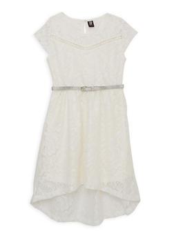 Girls 7-16 Belted Lace Skater Dress - 1615023130026
