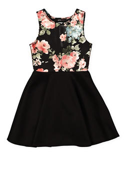 Girls 7-16 Floral Foil Skater Dress - 1615029890010