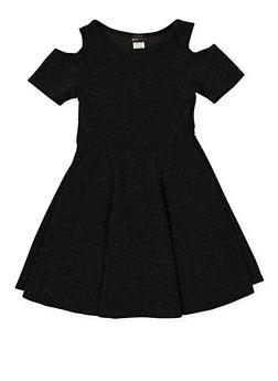 Girls 7-16 Glitter Knit Cold Shoulder Skater Dress - 1615029890011