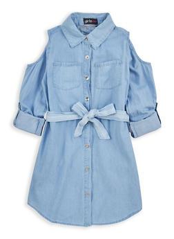 Girls 7-16 Cold Shoulder Denim Dress - 1615038340043