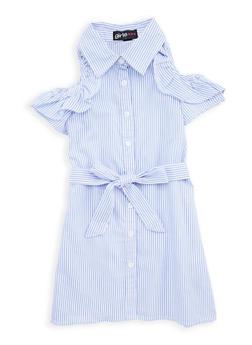 Girls 7-16 Striped Button Front Dress - 1615038340045