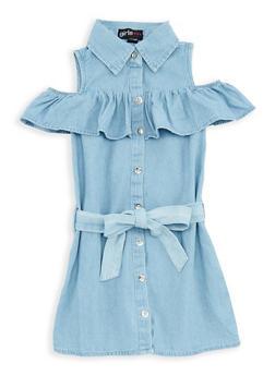 Girls 7-16 Ruffle Denim Button Front Dress - 1615038340047