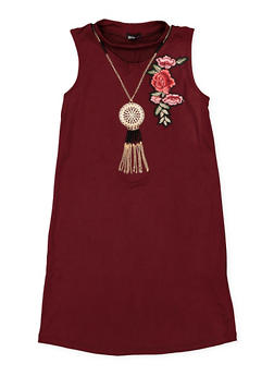 Girls 7-16 Keyhole Neck Dress with Necklace - 1615038340061