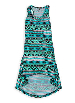 Girls 7-16 Printed High Low Tank Dress - 1615038340063
