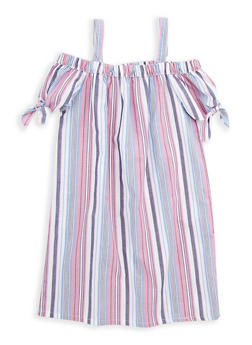Girls 7-16 Striped Off the Shoulder Dress - 1615038340069