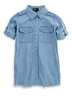 Girls 7-16 Frayed Denim Shirt Dress - 1615038340070