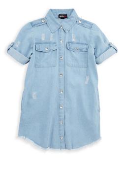 Girls 7-16 Frayed Button Front Denim Dress - 1615038340071