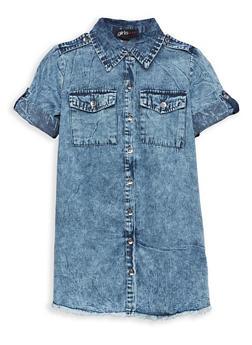 Girls 7-16 Frayed Denim Dress - 1615038340073