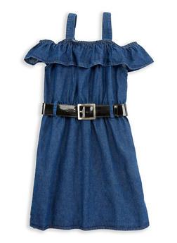 Girls 7-16 Off the Shoulder Belted Denim Dress - 1615038340077